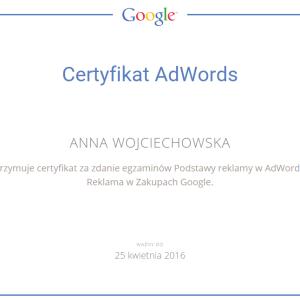 Certyfikat Google AdWords IQ Reklama w Zakupach Google Anna Wojciechowska