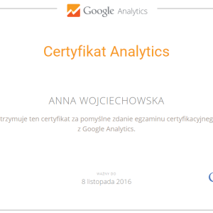 Certyfikat Google Analytics IQ Anna Wojciechowska